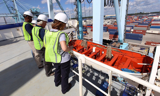 NTSB investigators on El Yunque (sister ship of El Faro) while it's docked at Jacksonville
