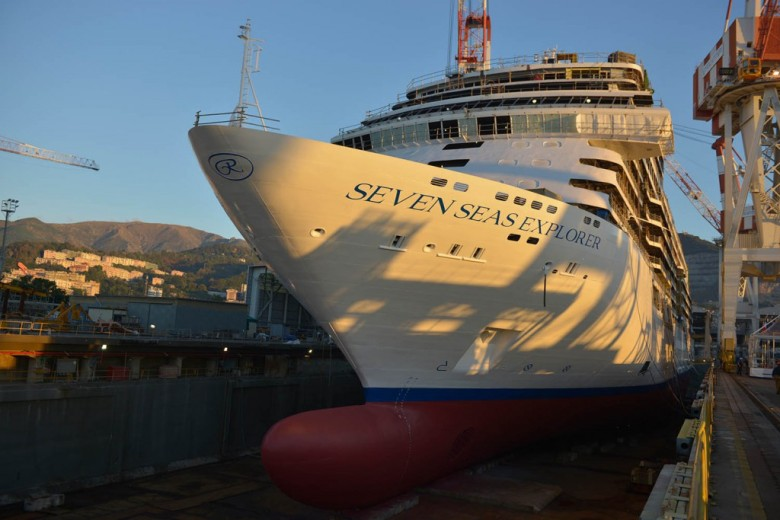 Seven Seas Explorer, an ultra-luxury cruise ship being built by Italian shipbuilder Fincantieri for Regent Seven Seas Cruises, has been launched today at the yard's Sestri Ponente facility.
