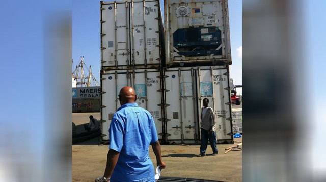 Maersk Line reefer containers arrive in Berbera.